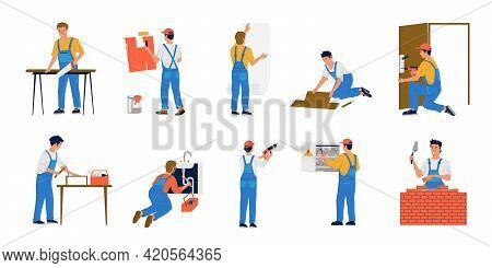 Home Repair Workers. House Maintenance. Construction Brigade Make Renovation. Painter Glues Wallpape