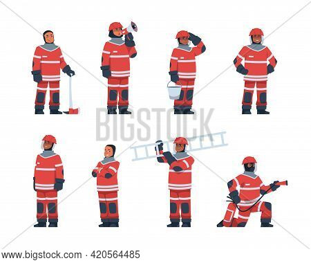 Firefighter. Cartoon Fireman Characters Wear Professional Rescue Uniform. Men Hold Flame Extinguishe