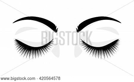Eyelashes. Closed Eyes With False Extended Lashes. Black And White Beauty Procedure Logo. Artificial