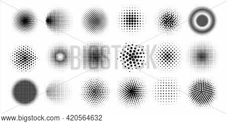Halftone Circles. Abstract Comic Pop Art Graphic Elements. Dots Shapes With Shadow Gradient Effects.