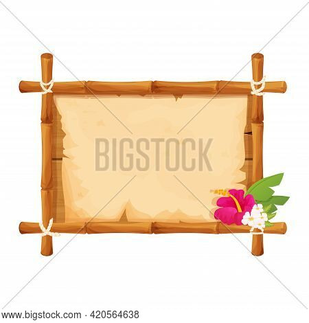 Hawaiian Bamboo Wooden Frame With Parchment And Tropical Flowers In Cartoon Style Isolated On White