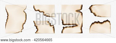 Burn Paper. Realistic Page Corners And Edges With Brown Ashes On Transparent Background. Fire-damage
