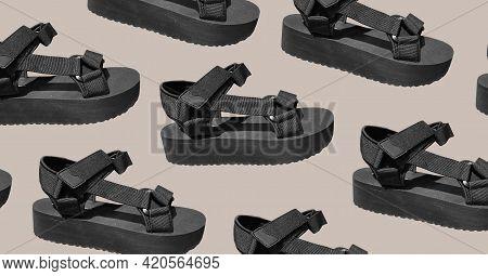 Pattern Of Black Track Sole Platform Sandals. Flat Sport Sandals On Platform With Details. Stylish C