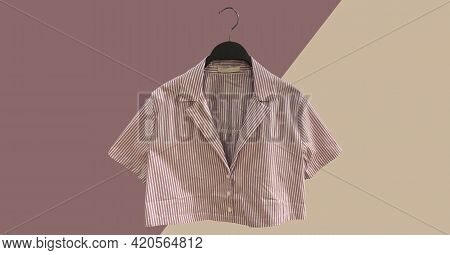 Striped Cropped Shirt With Short Sleeves On A Hanger. Minimal Style. Composition Of Clothes. Trendy