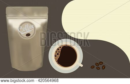 Gold Package Aluminum Foil Zipper Coffee Beans Pouch And A Cup Of Coffee.