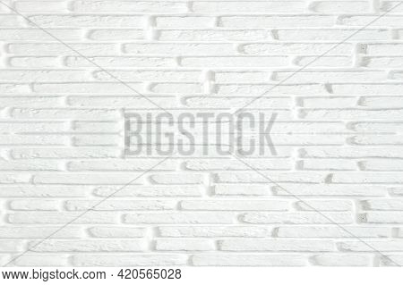 White Brick Wall Texture Background. Light Color Wallpaper Modern Interior Or Exterior And Backdrop