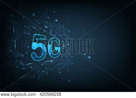 5g Icon On Electric Circuits Dark Blue Background.concept Of Develop 5g Wireless Technology Network