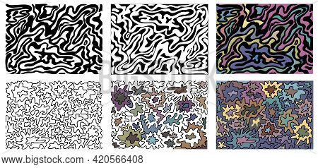 A Set Of Abstract Wavy Textures For Coloring. Anti Stress. Set Of Abstract Black And White And Color