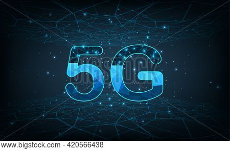 Concept Of 5g Wireless Network Connection.abstract 5g Icon With Dot Point Connect Line Design,commun