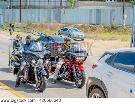 Daejeon, South Korea; May 2, 2021: Unidentified Men On Motorcycles Stopped In Traffic.