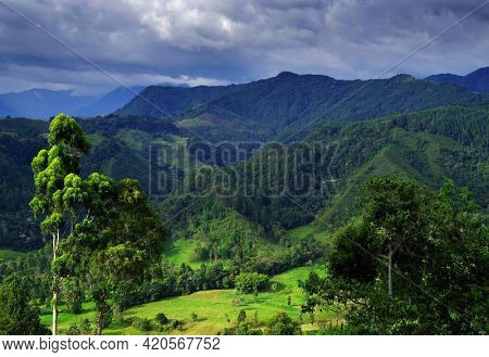 Stormy clouds over Cordiliera Central, Salento, Colombia, South America