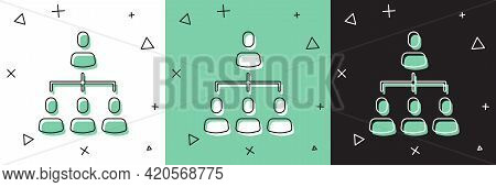Set Business Hierarchy Organogram Chart Infographics Icon Isolated On White And Green, Black Backgro