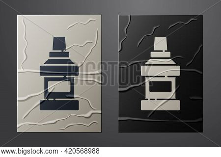 White Mouthwash Plastic Bottle Icon Isolated On Crumpled Paper Background. Liquid For Rinsing Mouth.