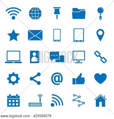 Solid Icons Of Internet Icons On White Background. 64x64 Pixel Perfect.