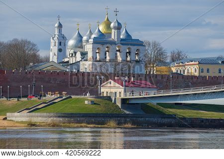 View Of The Belfry And Domes Of Hagia Sophia On A Sunny April Morning. Kremlin Of Veliky Novgorod, R