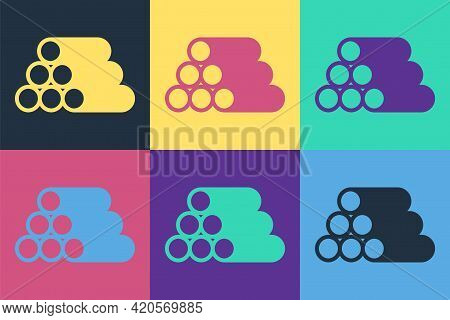 Pop Art Wooden Logs Icon Isolated On Color Background. Stack Of Firewood. Vector