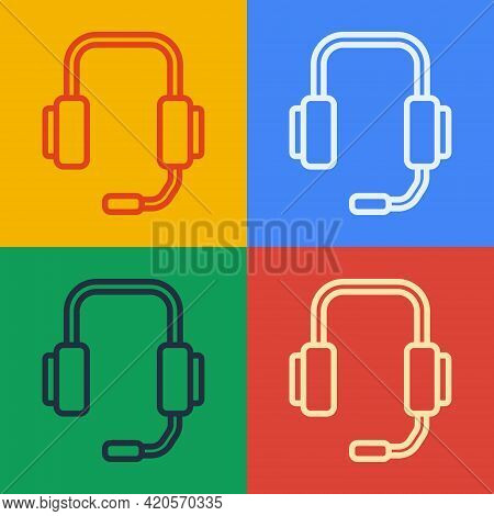 Pop Art Line Online Psychological Counseling Distance Icon Isolated On Color Background. Psychothera