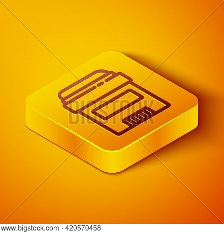 Isometric Line Antiperspirant Deodorant Roll Icon Isolated On Orange Background. Cosmetic For Body H