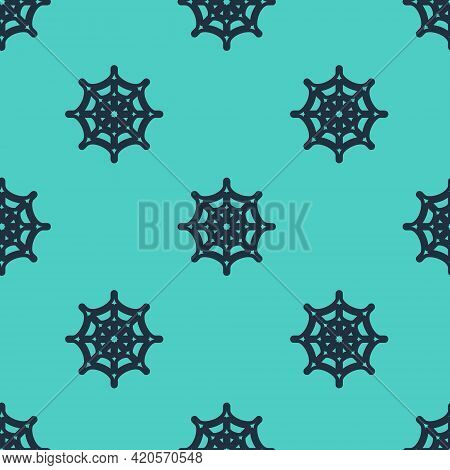 Black Line Spider Web Icon Isolated Seamless Pattern On Green Background. Cobweb Sign. Happy Hallowe