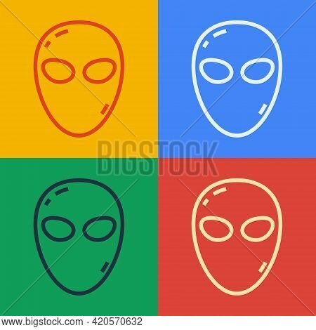 Pop Art Line Alien Icon Isolated On Color Background. Extraterrestrial Alien Face Or Head Symbol. Ve