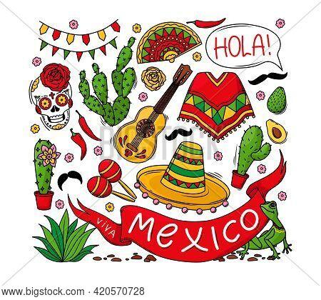 Mexico Set Of Elements, Skull, Poncho, Cacti, Sombrero And Ribbon With The Inscription Viva Mexico I