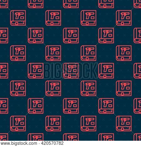 Red Line Book With Pistol Or Gun Icon Isolated Seamless Pattern On Black Background. Police Or Milit