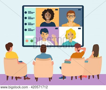 Online Webinar In Big City Concept Vector Illustration. Men And Women Sit In Conference Room And Loo