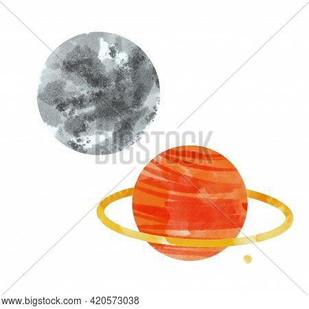 Watercolor Space Planets. Watercolor Space Clipart, Cosmos, Retro Planets Isolated. Comets, Moon, St