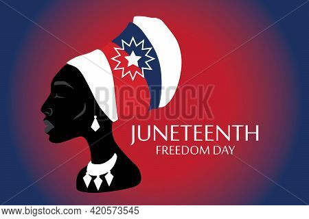 Silhouette Of African American Woman With Headdress With Juneteenth Flag Pattern.