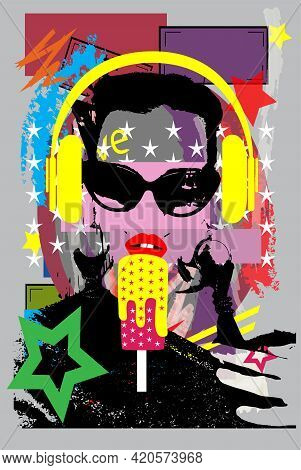 Girl Listening Music On Headphones And Eating Ice Cream. Colorful Pop Art Background Vector Illustra