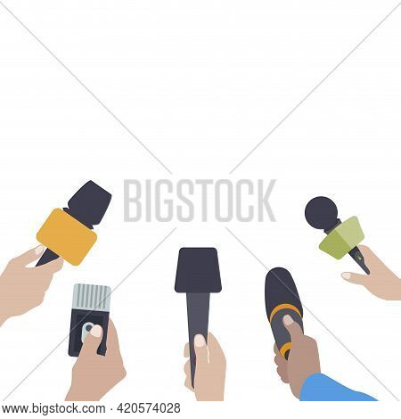 Hands With Microphones. Journalist Press Conference, Interview Reporter, Journalism Communication, M