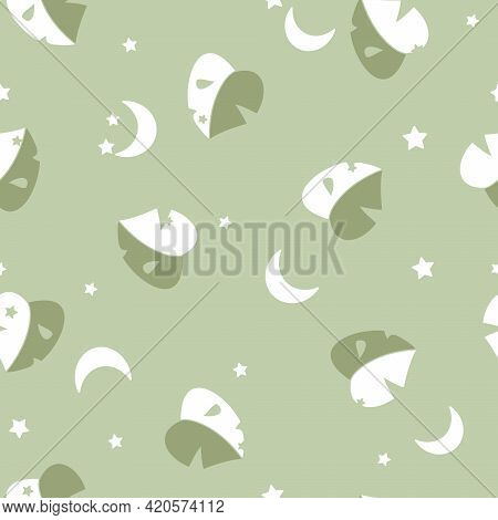 Vector Simplified Monstera Half Moon Leaves With Crescent Moons Seamless Pattern Background. Perfect