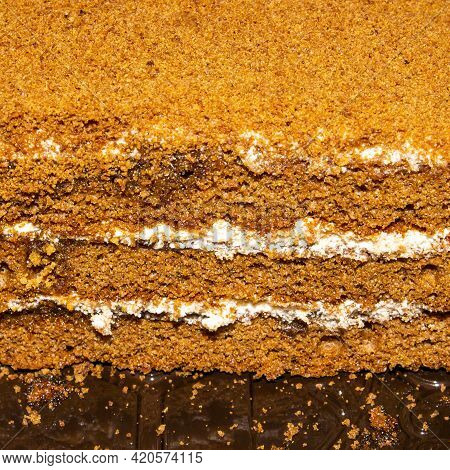 Layer Cake Honey Cake With A Layer Of Cream.honey Cake Background.classic Honey Cake With A Homemade