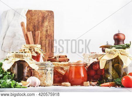 Fermented, Pickled, Marinated Preserved Vegetarian Food. Summer Organic Vegetables And Fruits In Jar