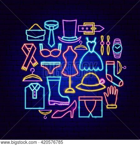 Fashion Clothing Neon Concept. Vector Illustration Of Clothes Promotion.