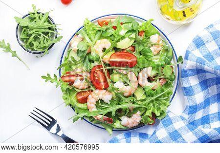 Summer Shrimp Salad With Tomatoes, Lettuce, Arugula, Avocado, Cucumber And Lemon Dressing On White B