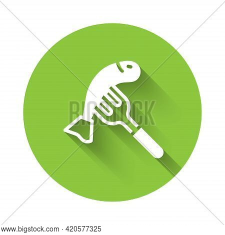 White Served Fish On A Plate Icon Isolated With Long Shadow. Green Circle Button. Vector