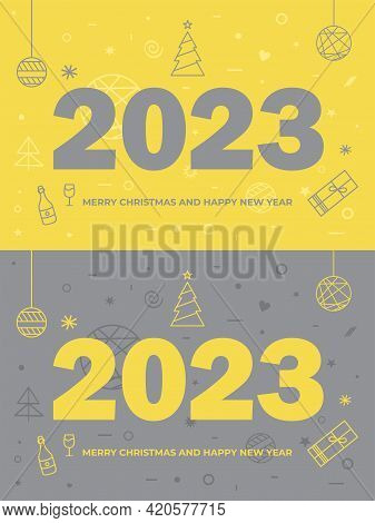 Creative Concept Of 2023 Happy New Year Logo Text Design. Brochure Design Template, Card, Banner.