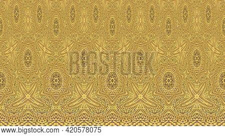 Golden Orange Floral Texture Pattern. Lace Background. Luxury Golden Lace Leaves Pattern.