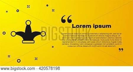 Black Joker Playing Card Icon Isolated On Yellow Background. Jester Hat With Bells. Casino Gambling.