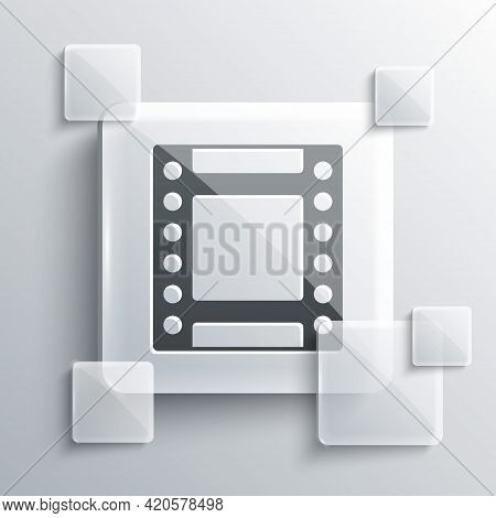 Grey Camera Vintage Film Roll Cartridge Icon Isolated On Grey Background. 35mm Film Canister. Filmst