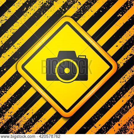 Black Photo Camera Icon Isolated On Yellow Background. Foto Camera. Digital Photography. Warning Sig