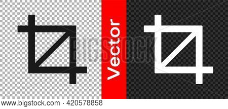 Black Picture Crop Photo Icon Isolated On Transparent Background. Vector
