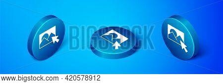 Isometric Photo Retouching Icon Isolated On Blue Background. Photographer, Photography, Retouch Icon