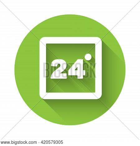 White Thermostat Icon Isolated With Long Shadow. Temperature Control. Green Circle Button. Vector