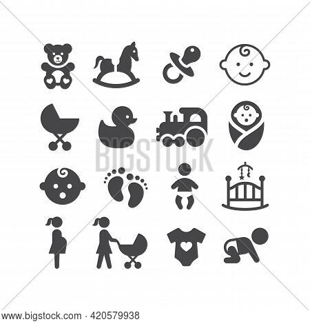 Baby Black Vector Icon Set. Pram, Dummy, Toy, Baby Cradle Symbols.