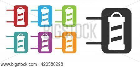 Black Classic Barber Shop Pole Icon Isolated On White Background. Barbershop Pole Symbol. Set Icons