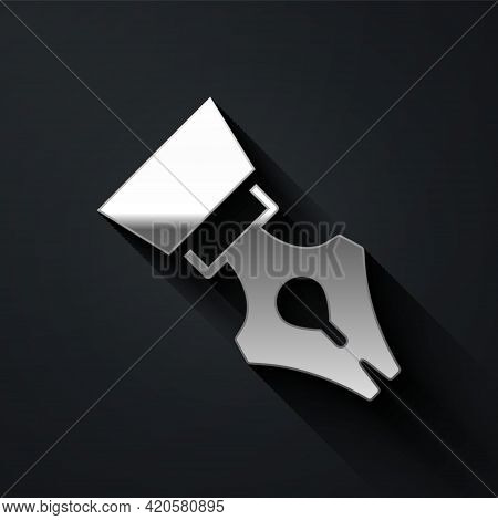 Silver Fountain Pen Nib Icon Isolated On Black Background. Pen Tool Sign. Long Shadow Style. Vector