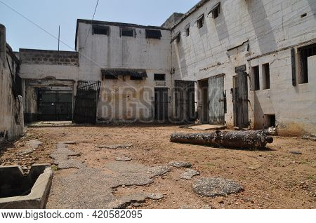 An Ancient Cannon In The Abandoned Prison In The Former Ussher Fort In Accra, Ghana.