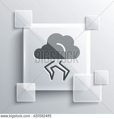 Grey Storm Icon Isolated On Grey Background. Cloud And Lightning Sign. Weather Icon Of Storm. Square